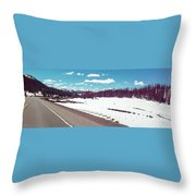 Snow And The Open Road Throw Pillow