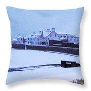 Snow At Cobo Beach Throw Pillow