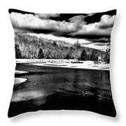 Snow At The River - Bw Throw Pillow