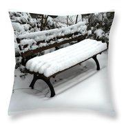 Snow Bench Throw Pillow