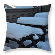 Snow Benches Throw Pillow