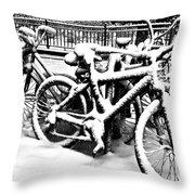Snow Bicycles Throw Pillow