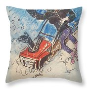 Snow Blowing Throw Pillow