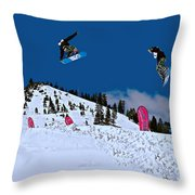 Snow Boarder Throw Pillow