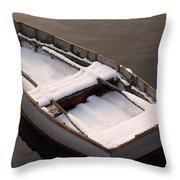 Snow Boat Throw Pillow