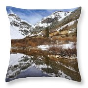 Snow-capped Refections Throw Pillow