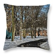 Snow Cleared Road Throw Pillow