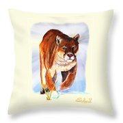 Snow Cougar Throw Pillow