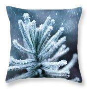 Snow Cover Pine Throw Pillow