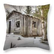 Snow Covered Abandon Cabin Throw Pillow
