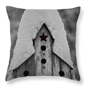 Snow Covered Birdhouse Throw Pillow