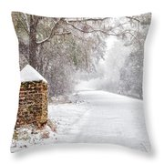 Snow Covered Brick Pillar Throw Pillow