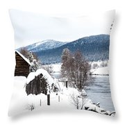Snow Covered Cabin Throw Pillow