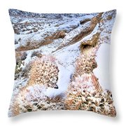 Snow Covered Cactus Below Mount Whitney Eastern Sierras Throw Pillow