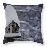 Snow Covered Elf Birdhouse Throw Pillow