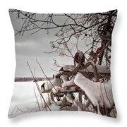 Snow Covered Farming Equipment Throw Pillow
