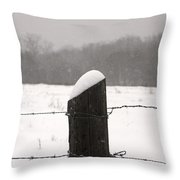 Snow Covered Fence Post Throw Pillow