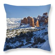 Snow-covered Fins And La Sal Mountains Throw Pillow