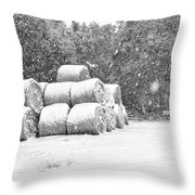 Snow Covered Hay Bales Throw Pillow