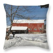 Snow Covered Masachussetts Barn Throw Pillow