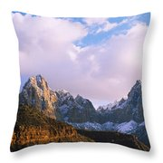Snow Covered Mountain Range, The Throw Pillow