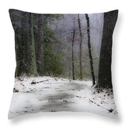 Snow Covered Path Quantico National Cemetery Throw Pillow