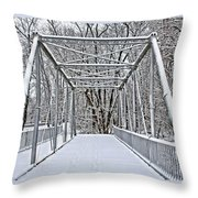 Snow Covered Pony Bridge Throw Pillow