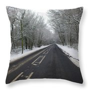 Snow Covered Road Throw Pillow