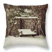 Snow Covered Swing Throw Pillow