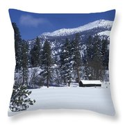 Snow Covered Trees And Cabin At Rock Throw Pillow