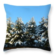 Snow Covered Trees Throw Pillow