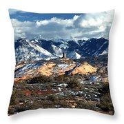 Snow Covered Utah Mountain Range Throw Pillow