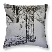 Snow Covered Wisteria Arch Throw Pillow