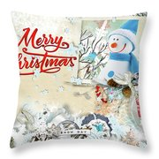 Snow Day Christmas Card Throw Pillow