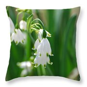 Snow Drop Lily Throw Pillow