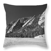 Snow Dusted Flatirons Boulder Co Panorama Bw Throw Pillow