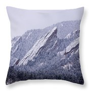 Snow Dusted Flatirons Boulder Colorado Throw Pillow