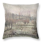 Snow Effect At Eragny Throw Pillow