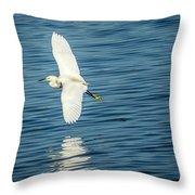 Snow Egret In Flight Throw Pillow