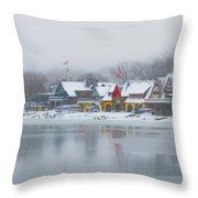 Snow Falling On Boathouse Row Throw Pillow