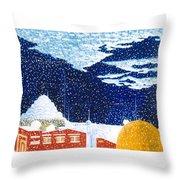 snow falling on Istanbul Throw Pillow