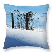 Snow Fence Throw Pillow by Joyce Kimble Smith