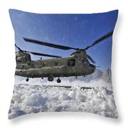 Snow Flies Up As A U.s. Army Ch-47 Throw Pillow