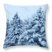 Snow Flocked Pines Throw Pillow