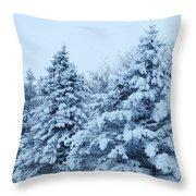 Snow Flocked Pines Throw Pillow