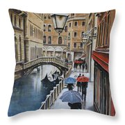 Snow Flurry In Venice Throw Pillow