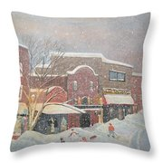 Snow For The Holidays Painting Throw Pillow