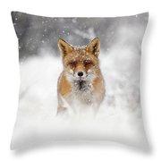 Snow Fox Series - Red Fox In A Blizzard Throw Pillow