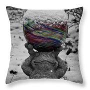 Snow Frog Throw Pillow