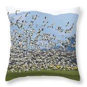 Snow Geese Exodus Throw Pillow